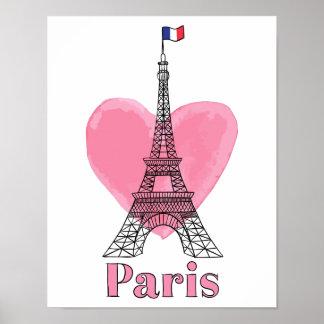 Cool Pink Paris Love Modern Eiffel Tower Poster