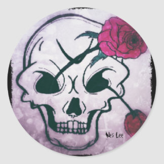 Cool Pink Rose Skull Classic Round Sticker