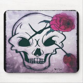 Cool Pink Rose Skull Mouse Mat
