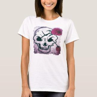 Cool Pink Rose Skull T-Shirt