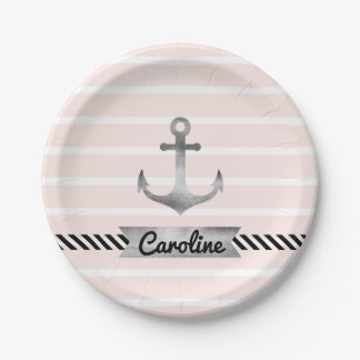 Cool Pink Stripes Gray Watercolor Anchor Custom 7 Inch Paper Plate