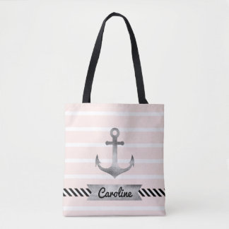 Cool Pink Stripes Watercolor Anchor Personalized Tote Bag