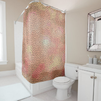 Cool Pink Tones Stained Glass Pattern Shower Curtain