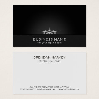 Cool Plane Silhouette Landing on Tarmac Aviation Business Card