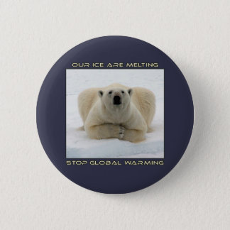 cool POLAR BEAR AND GLOBAL WARMING designs 6 Cm Round Badge
