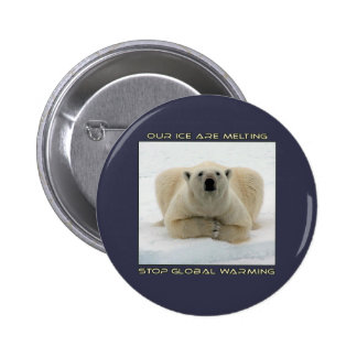 cool POLAR BEAR AND GLOBAL WARMING designs 6 Cm Round Badge
