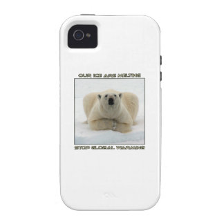 cool POLAR BEAR AND GLOBAL WARMING designs iPhone 4/4S Cases