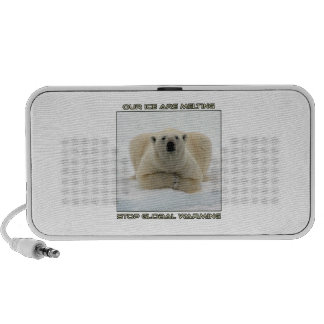 cool POLAR BEAR AND GLOBAL WARMING designs Notebook Speakers