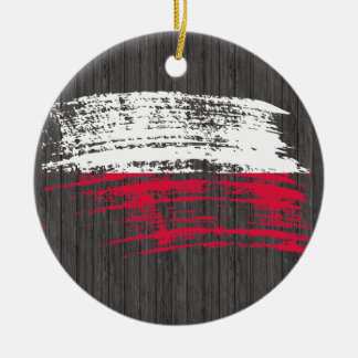 Cool Polish flag design Round Ceramic Decoration