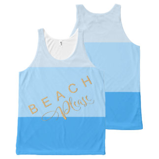 Cool Pool Blue Stripes - Beach Please Gold Glitter All-Over Print Tank Top
