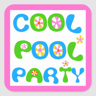 Cool Pool Party Square Sticker