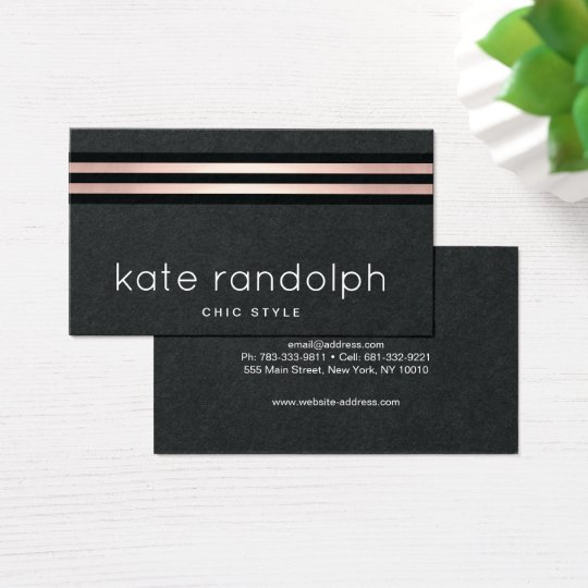 Cool Professional Rose Gold Black Stripes Business Card