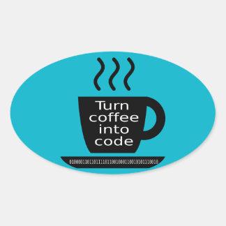 Cool Programmer Geek Coffee Addiction Oval Sticker