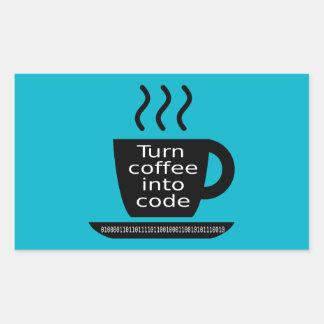 Cool Programmer Geek Coffee Addiction Rectangular Sticker