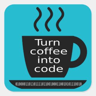 Cool Programmer Geek Coffee Addiction Square Sticker