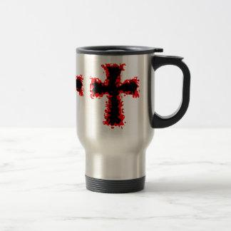 Cool punk goth wild red and black cross mug