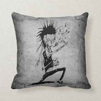 Cool punk zombie grey cracked wall black grey cushion