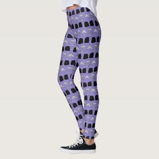 Cool Purple Alien Heads Pattern Leggings
