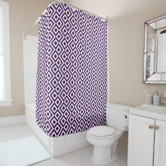 Cool Purple and White Geometric Meander Shower Curtain