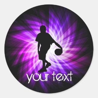 Cool Purple Basketball Round Sticker