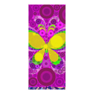 Cool Purple Butterfly Concentric Circles Mosaic Invite