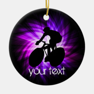 Cool Purple Cycling Christmas Ornament