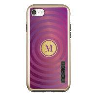 Cool Purple Designer Stripe Pattern Gold Monogram