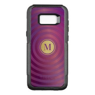 Cool Purple Designer Stripe Pattern Gold Monogram OtterBox Commuter Samsung Galaxy S8+ Case
