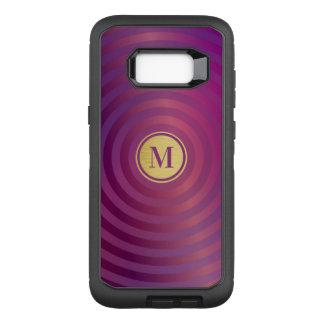 Cool Purple Designer Stripe Pattern Gold Monogram OtterBox Defender Samsung Galaxy S8+ Case