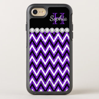 Cool Purple Glitter Monogram Black White Chevrons OtterBox Symmetry iPhone 8/7 Case