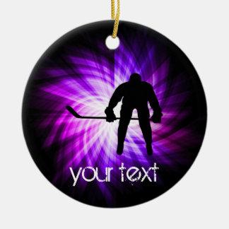 Cool Purple Hockey Christmas Ornament