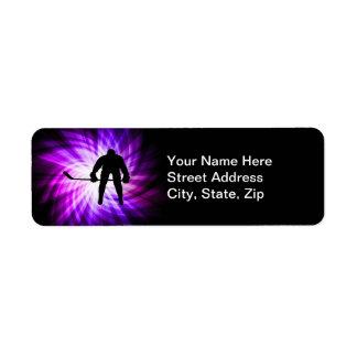 Cool Purple Hockey Return Address Label
