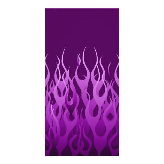 Cool Purple Racing Flames Design Custom Photo Card