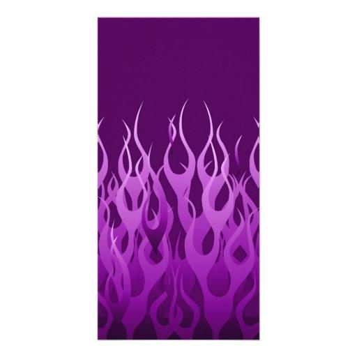 Cool Purple Racing Flames Photo Cards