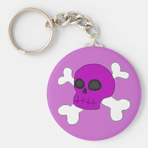 cool purple skull & cross bones keychain