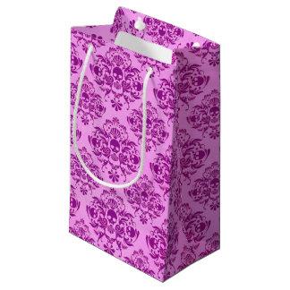 Cool Purple Skull Damask Wallpaper Pattern Small Gift Bag