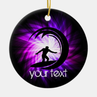Cool Purple Surfing Christmas Ornament