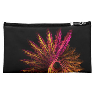 Cool Purple Yellow Abstract Neon Glowing Fractal Makeup Bag