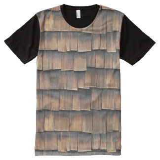 Cool, Quirky Fashion Brown Aged Wooden Shingles All-Over Print T-Shirt