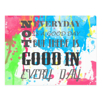 Cool quote colourful vibrant watercolours splatter postcard