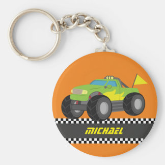 Cool Racing Green Monster Truck for Racer Boys Keychain