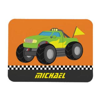 Cool Racing Green Monster Truck for Racer Boys Magnet