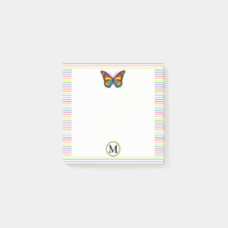 Cool Rainbow Butterfly Pinstripe Custom Monogram Post-it Notes