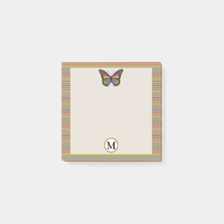 Cool Rainbow Butterfly Pinstripe Rustic Monogram Post-it Notes
