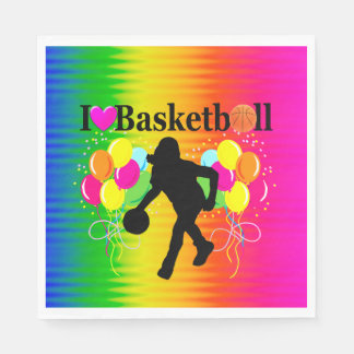 COOL RAINBOW I LOVE BASKETBALL PAPER NAPKINS