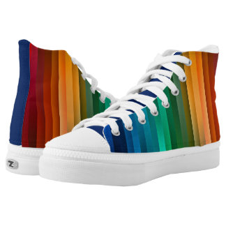 Cool Rainbow Stripes Kicks High Tops