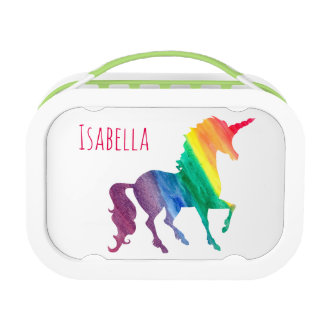 Cool Rainbow Watercolor Unicorn Kids Beautiful Lunch Box