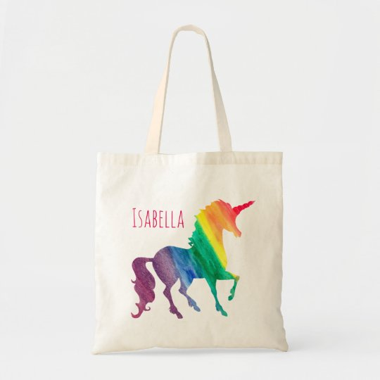 Cool Rainbow Watercolor Unicorn Pretty Kids Fun Tote
