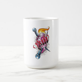 Cool Realistic Heart with Silver Slivers tattoo Basic White Mug
