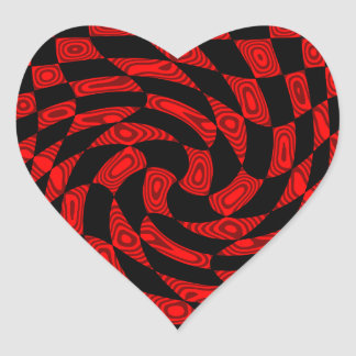 Cool red and black punk abstract heart heart sticker